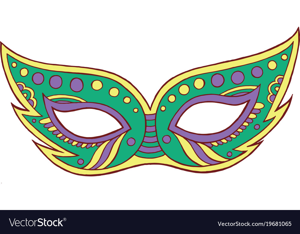 mardi gras mask isolated element doodle cartoon vector image