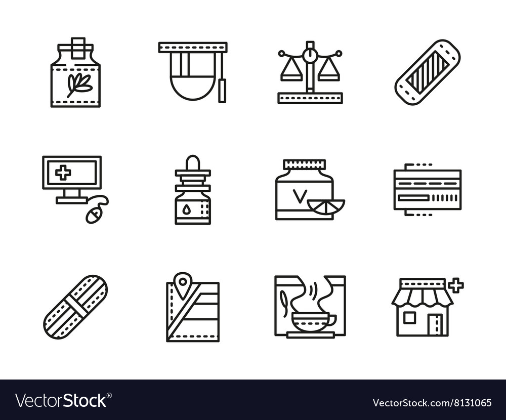 Medical black line icons Pharmacy