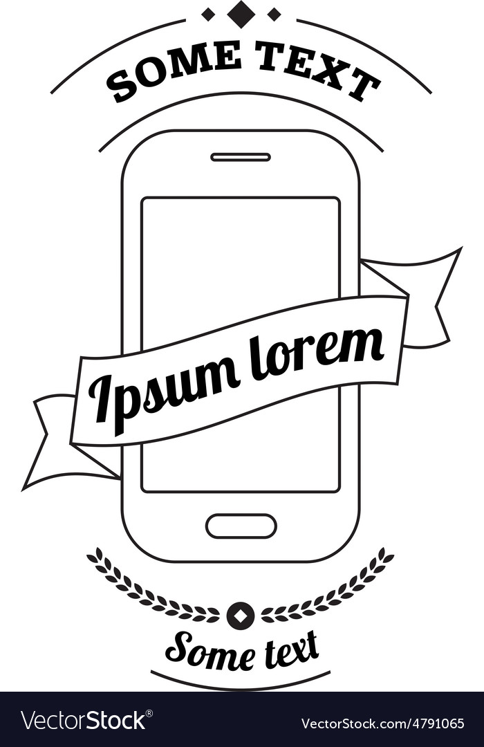Mobile phone logo with ribbon and text vector image
