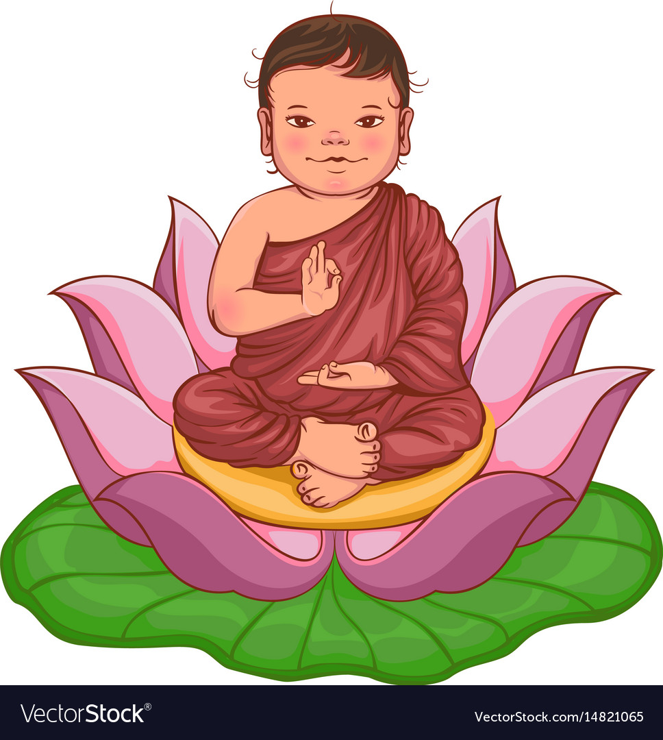 Newborn Buddha Boy Sits In Lotus Flower Royalty Free Vector