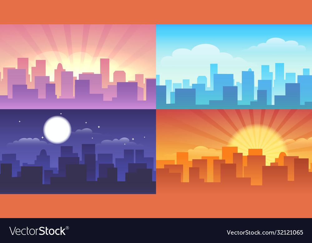 Night and daytime cityscape