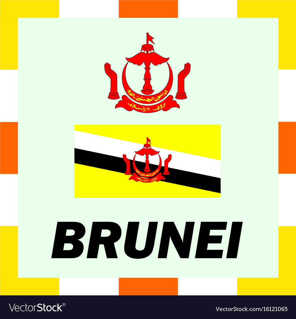 Official ensigns flag and coat of arm of brunei