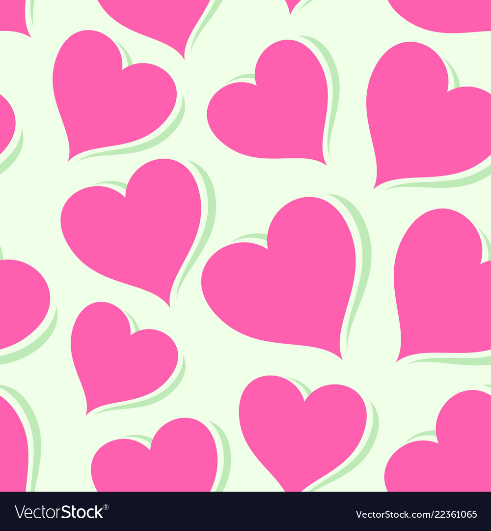 Pink hearts on bright background
