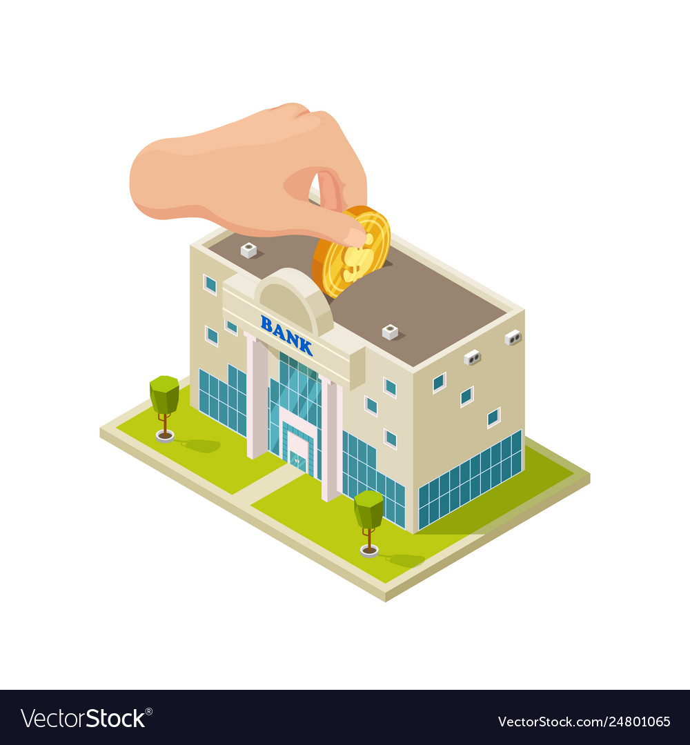 Saving money in bank isometric concept