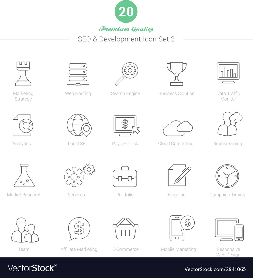Set of Thin Line SEO and Development icons Set 2