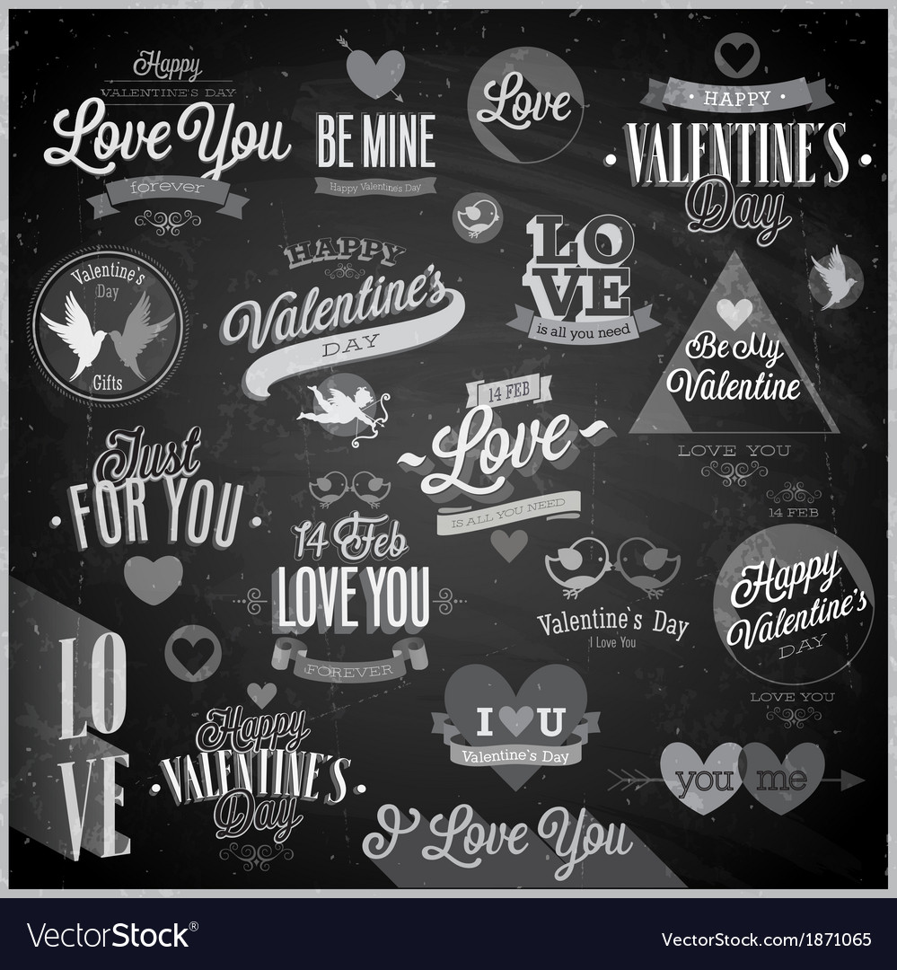 Valentine emblems chalk