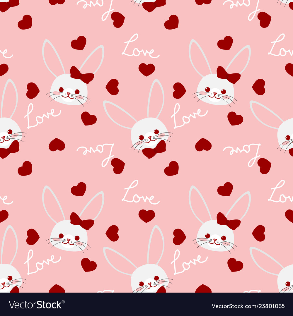 Valentines day seamless pattern with cute rabbits