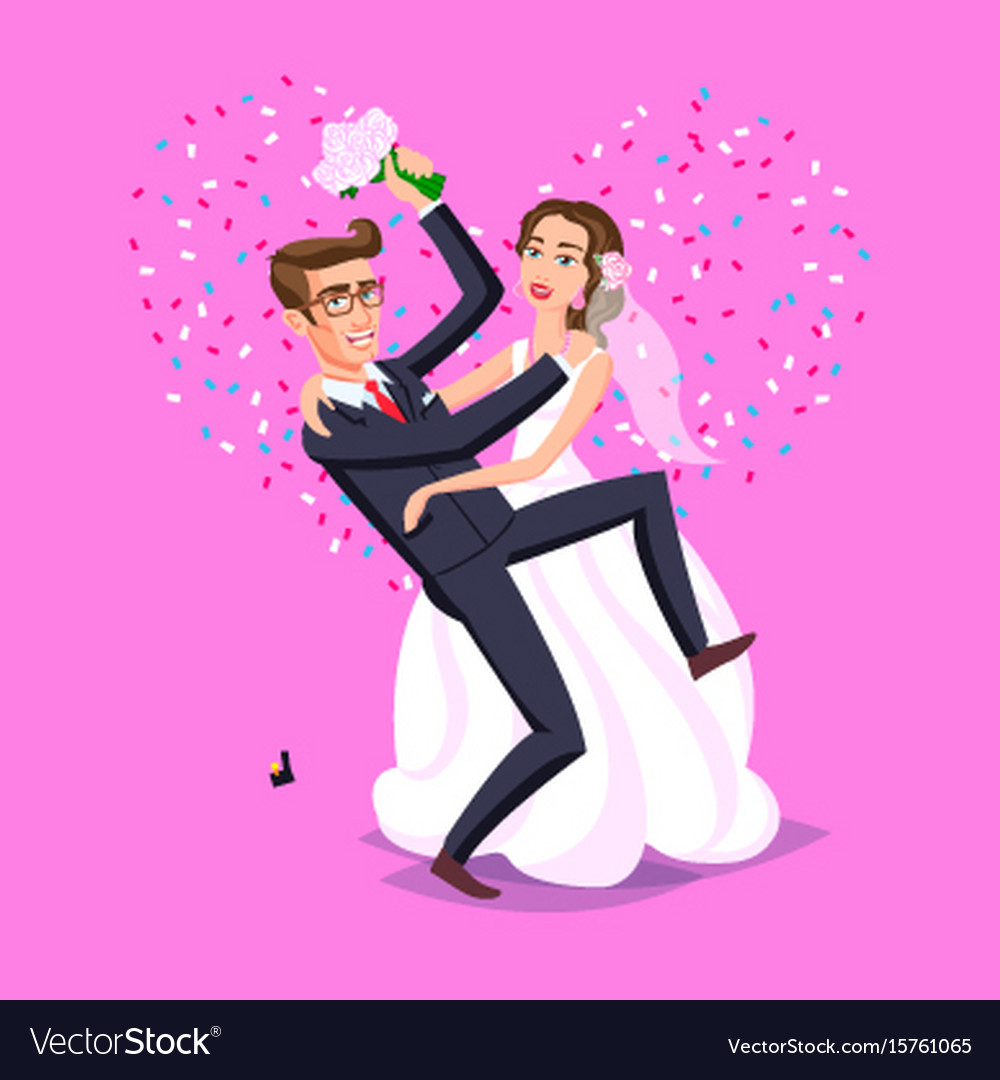 Wedding just married funny couple bride and