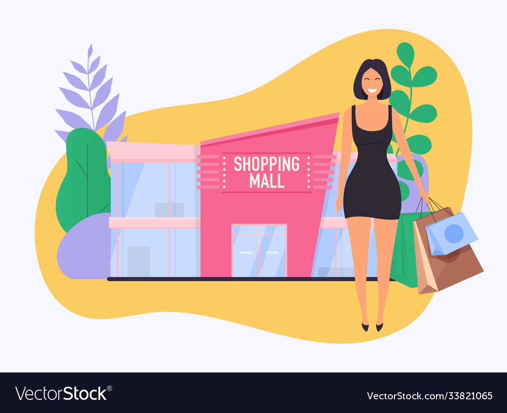 Woman with paper bag do shopping shopping mall