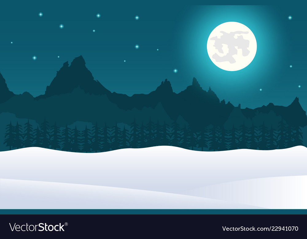 Christmas landscape background of full moon and mo
