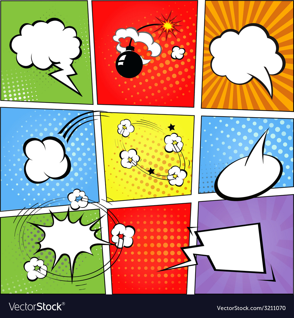 Comic speech bubbles and comic strip background vector image
