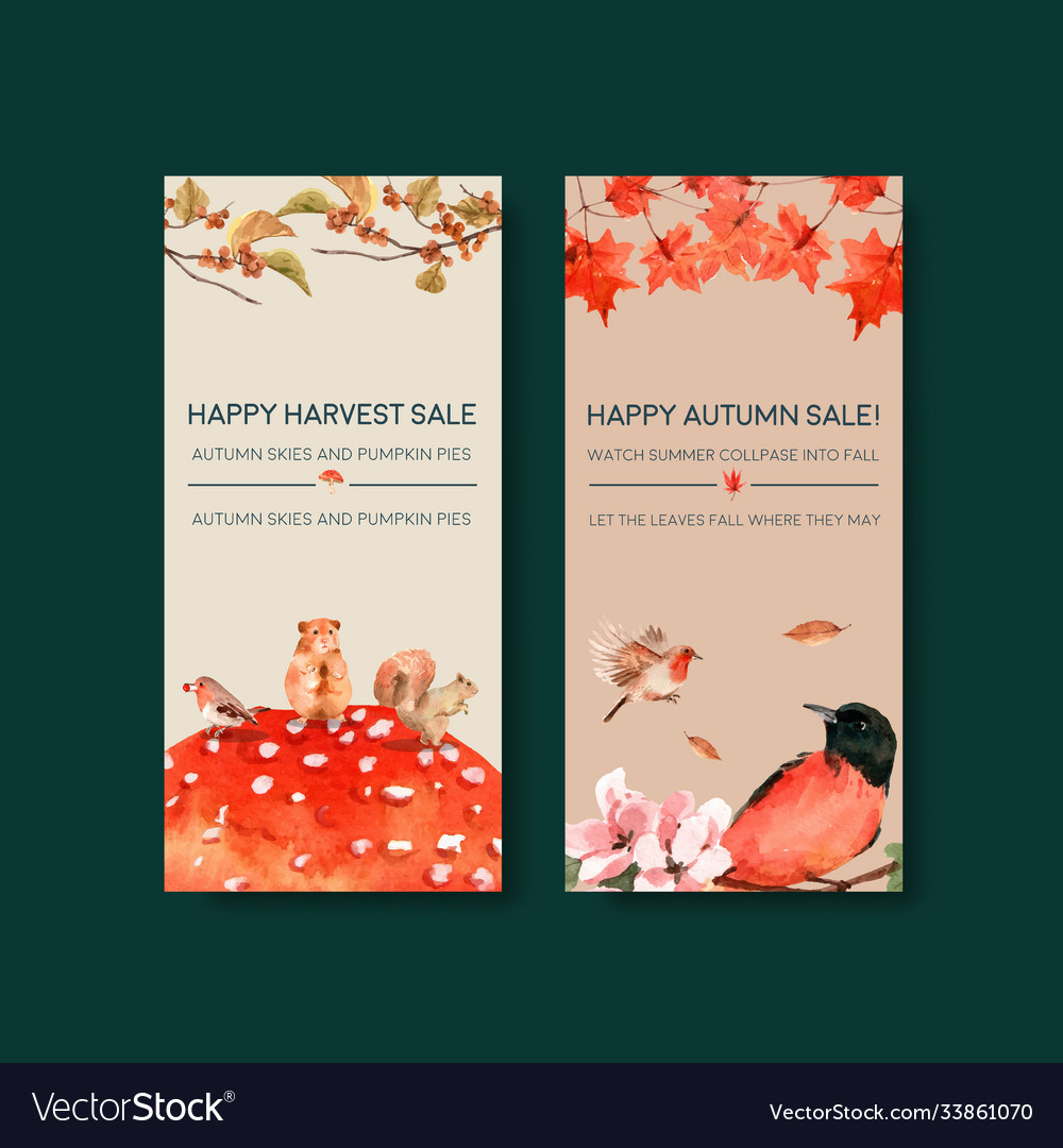 Flyer template with autumn forest and animals