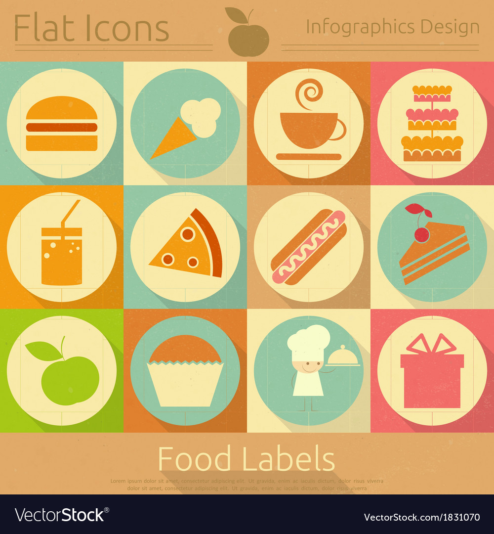 Food Labels in Retro Style