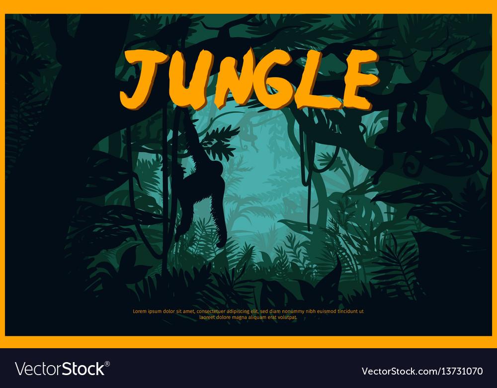 Green jungle landscape natural poster vector image