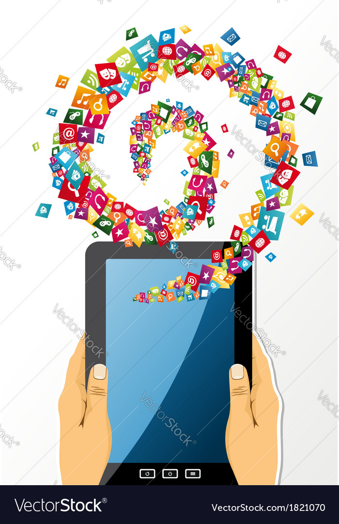Human hands holds tablet pc app icons vector image