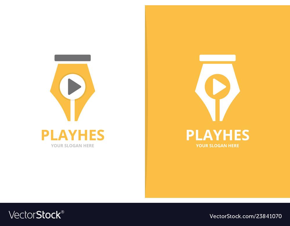 Pen and play button logo combination