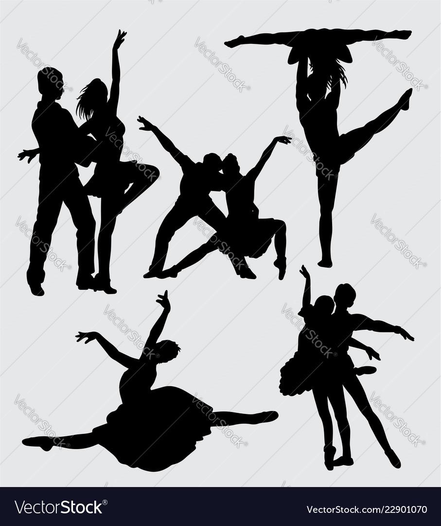Performance couple ballet silhouette