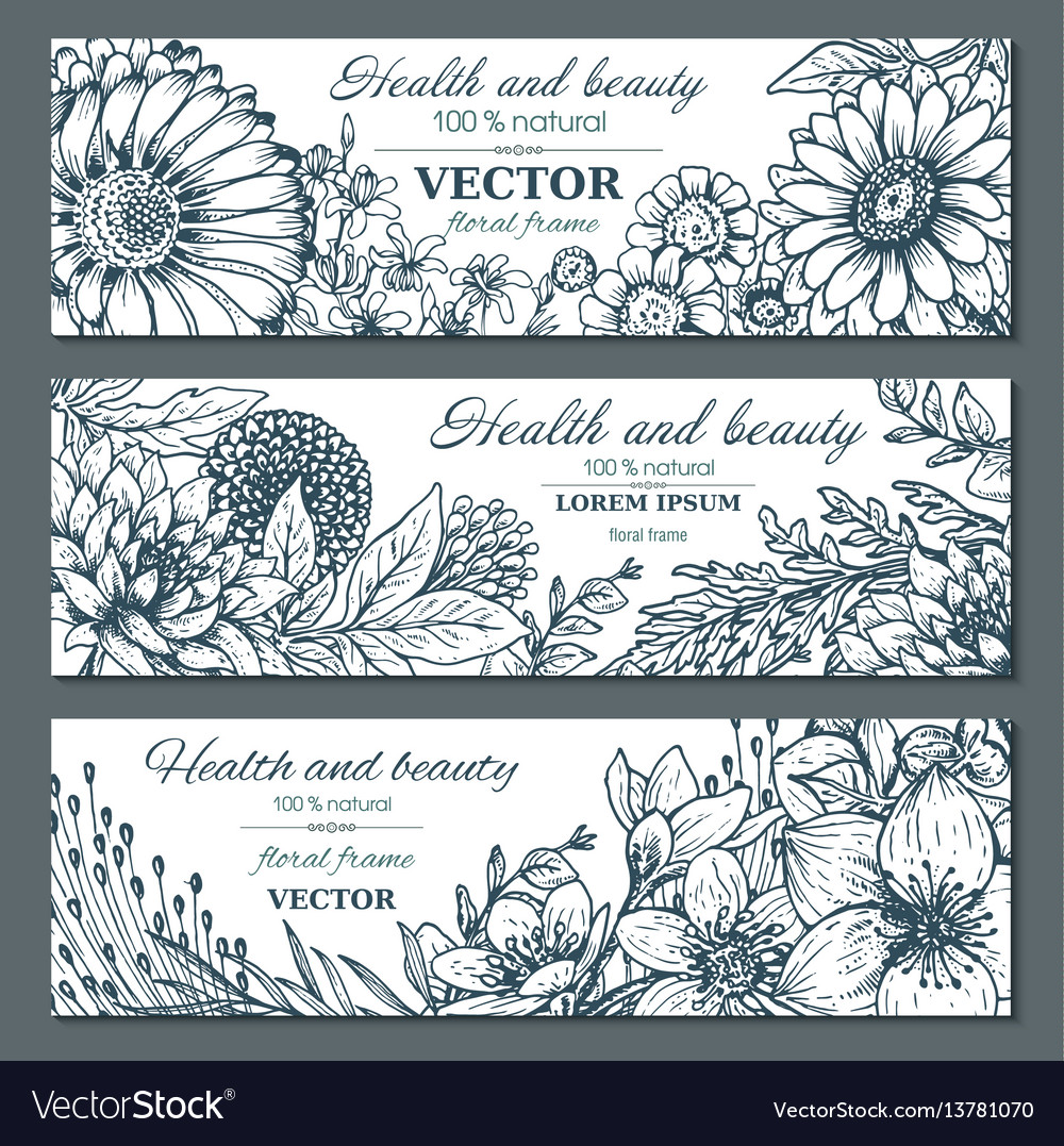 Set of three horizontal banners with beautiful