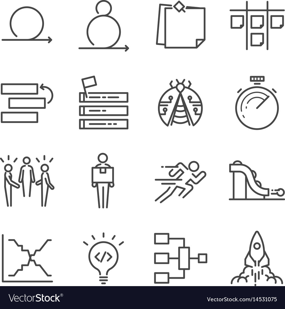 Agile software development icons set