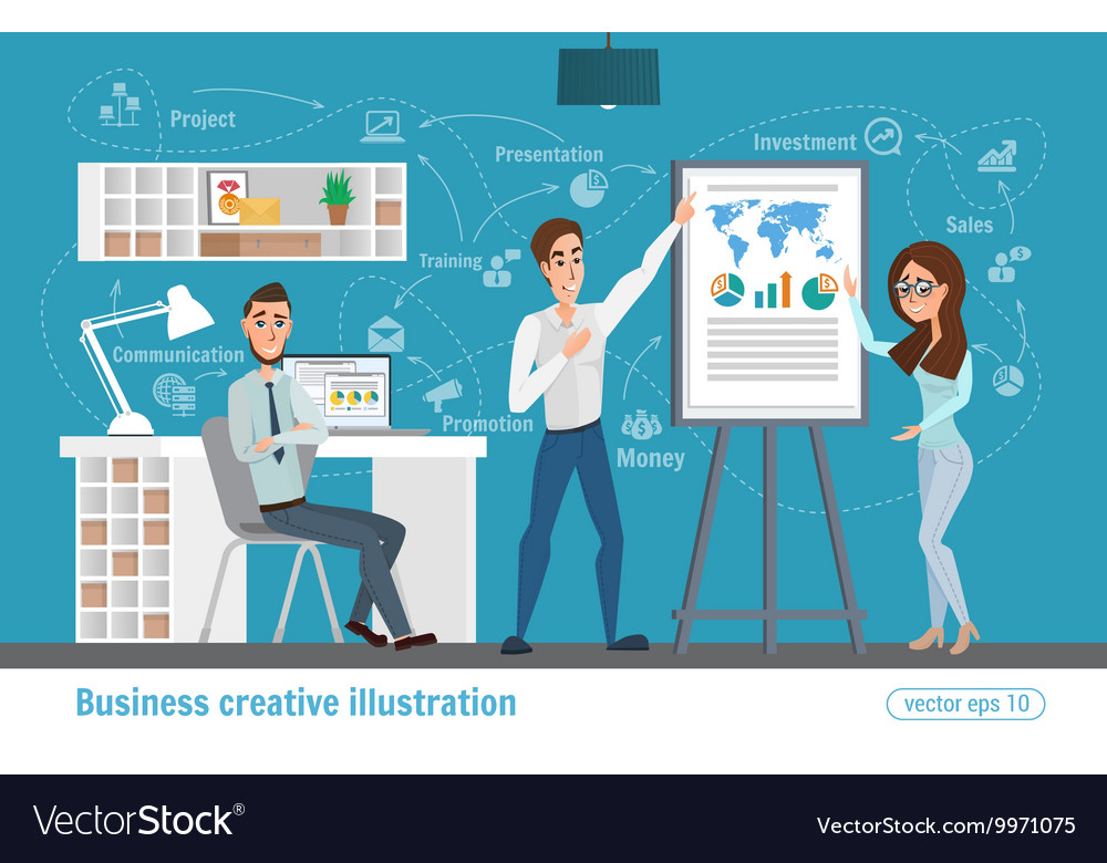 Business creative Women and man