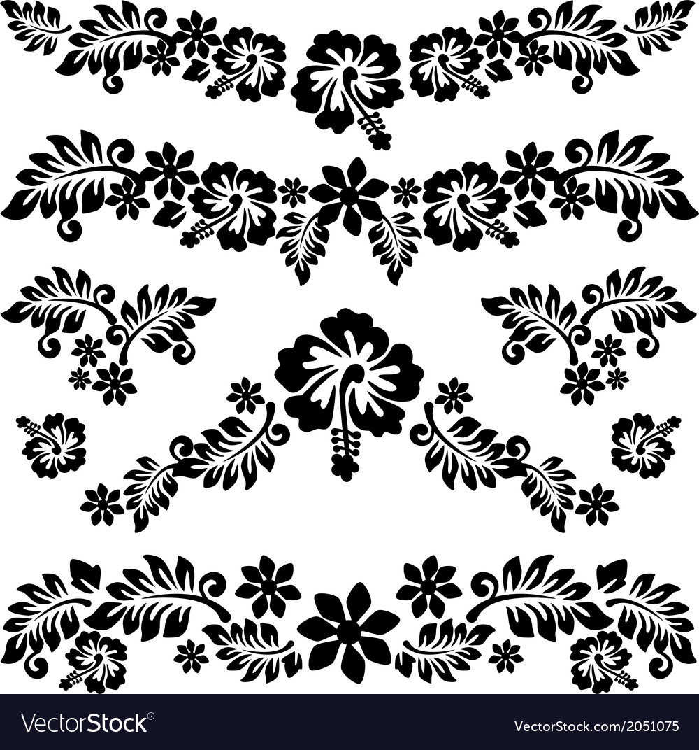 Hawaiian Kakau Hibiscus Tattoo vector image