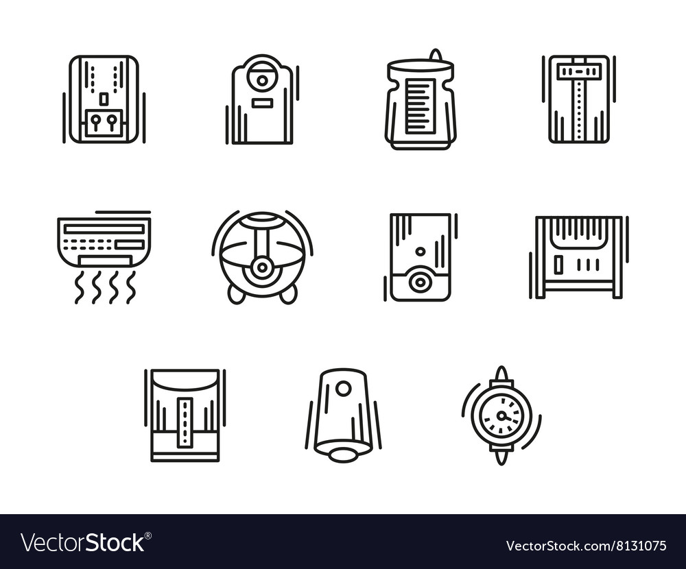 Home climate equipment black line icons