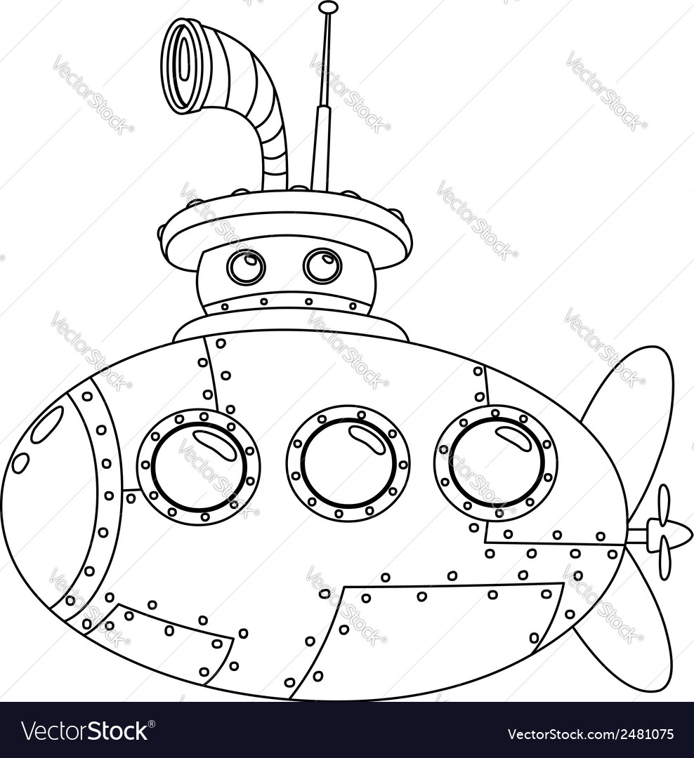 Outlined submarine