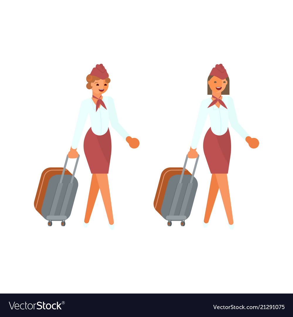Stewardesses characters with suitcases
