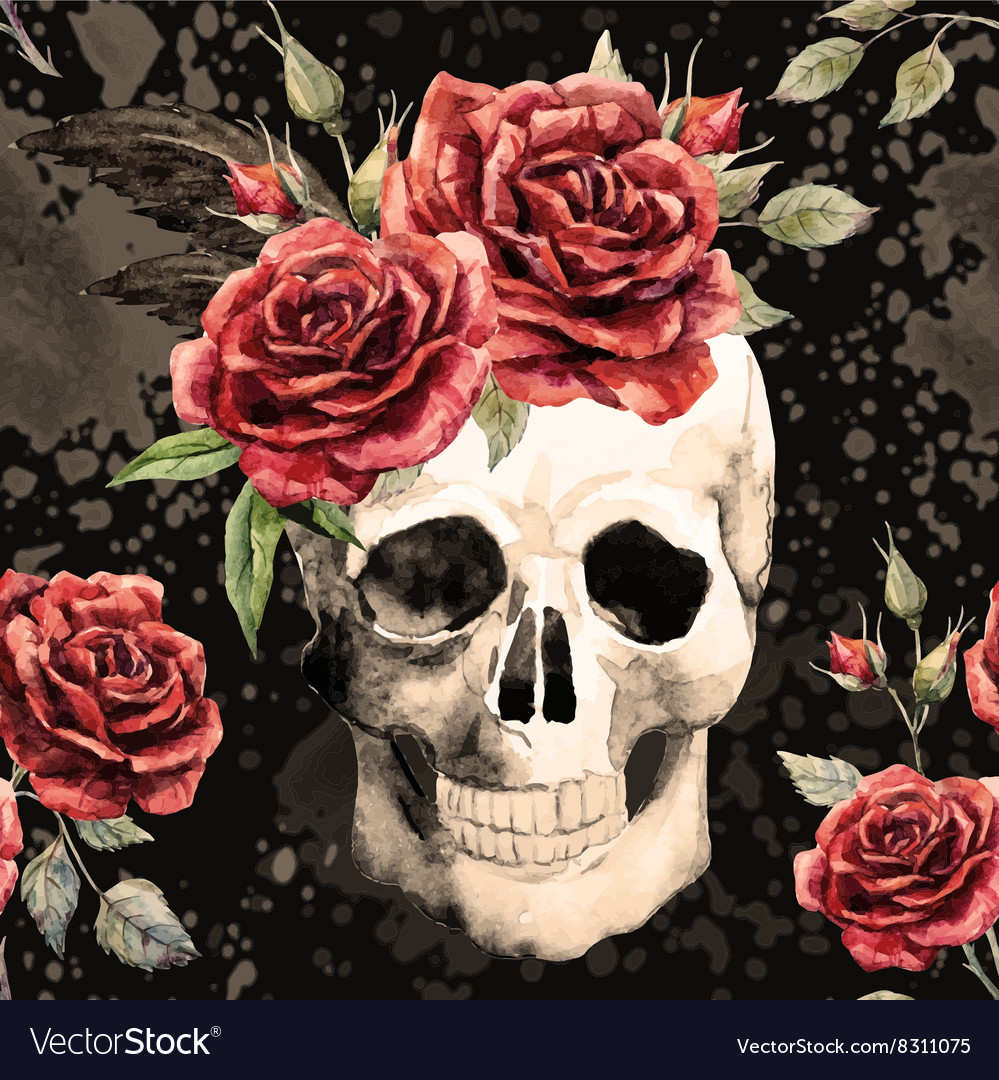 Watercolor skull and roses pattern