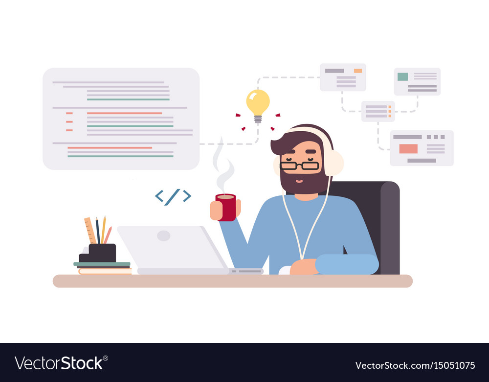Web-developer works on laptop horizontal banner vector image