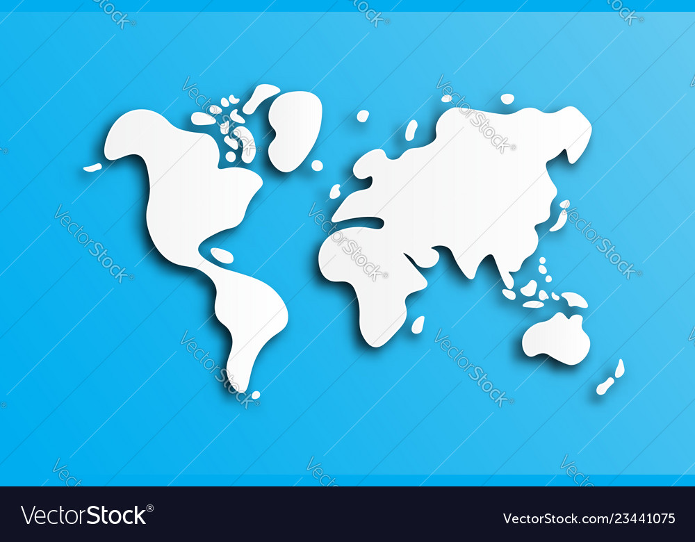 World map white paper art and doodle style