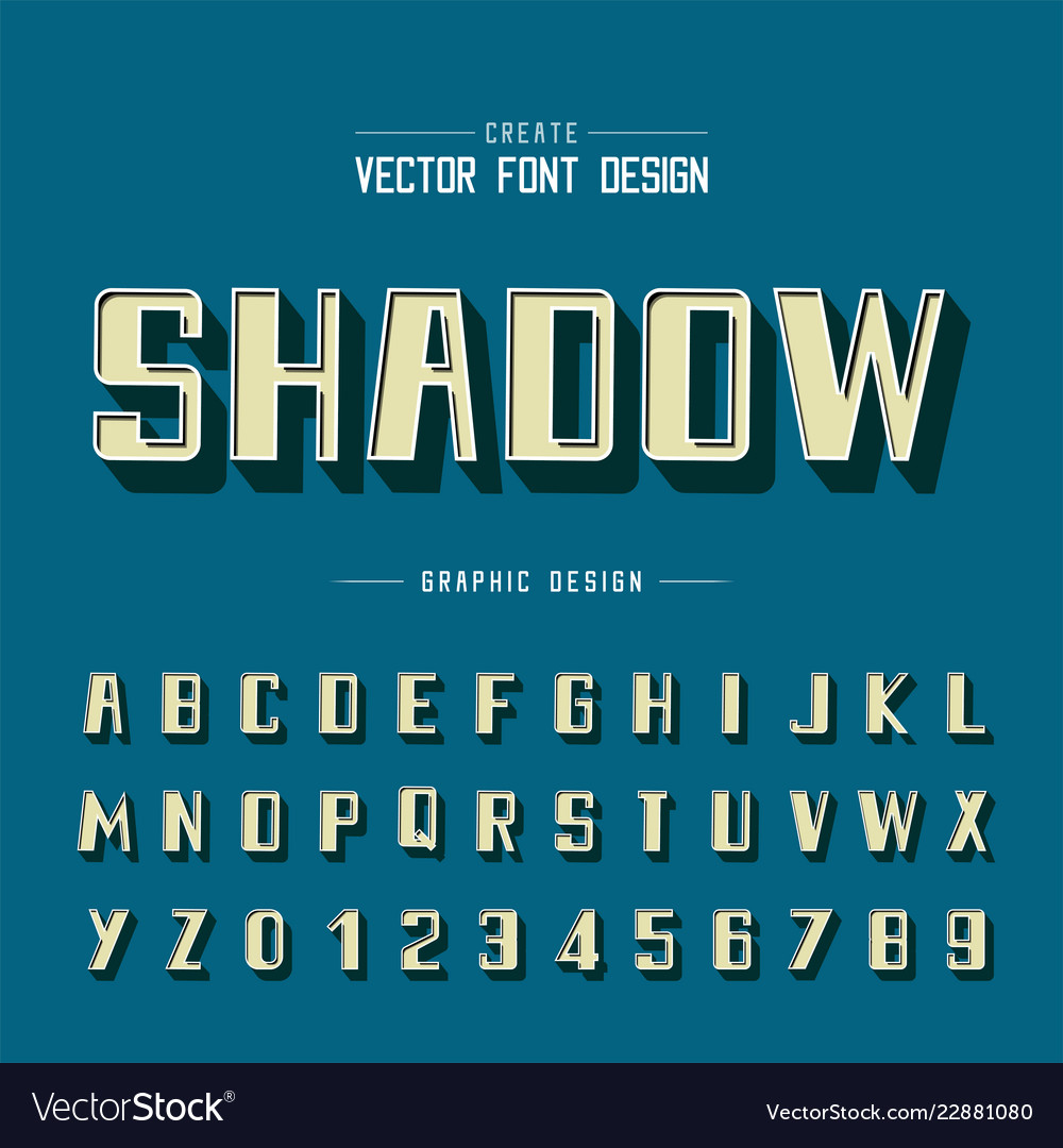 3d font and alphabet shadow bold typeface