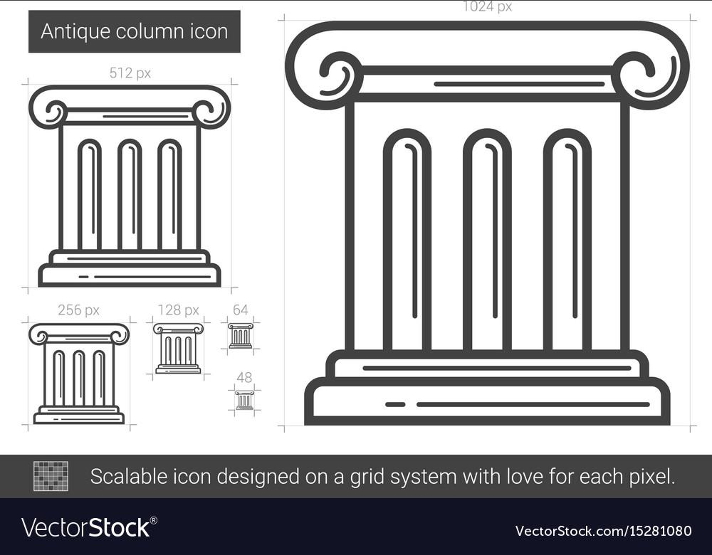 Antique column line icon