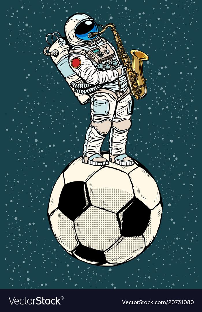 Astronaut plays saxophone on a football soccer