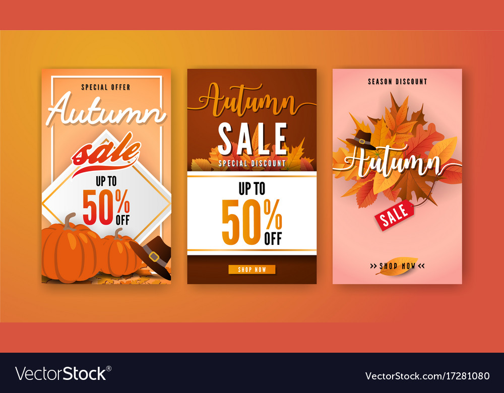 Autumn sale vertical banner background template