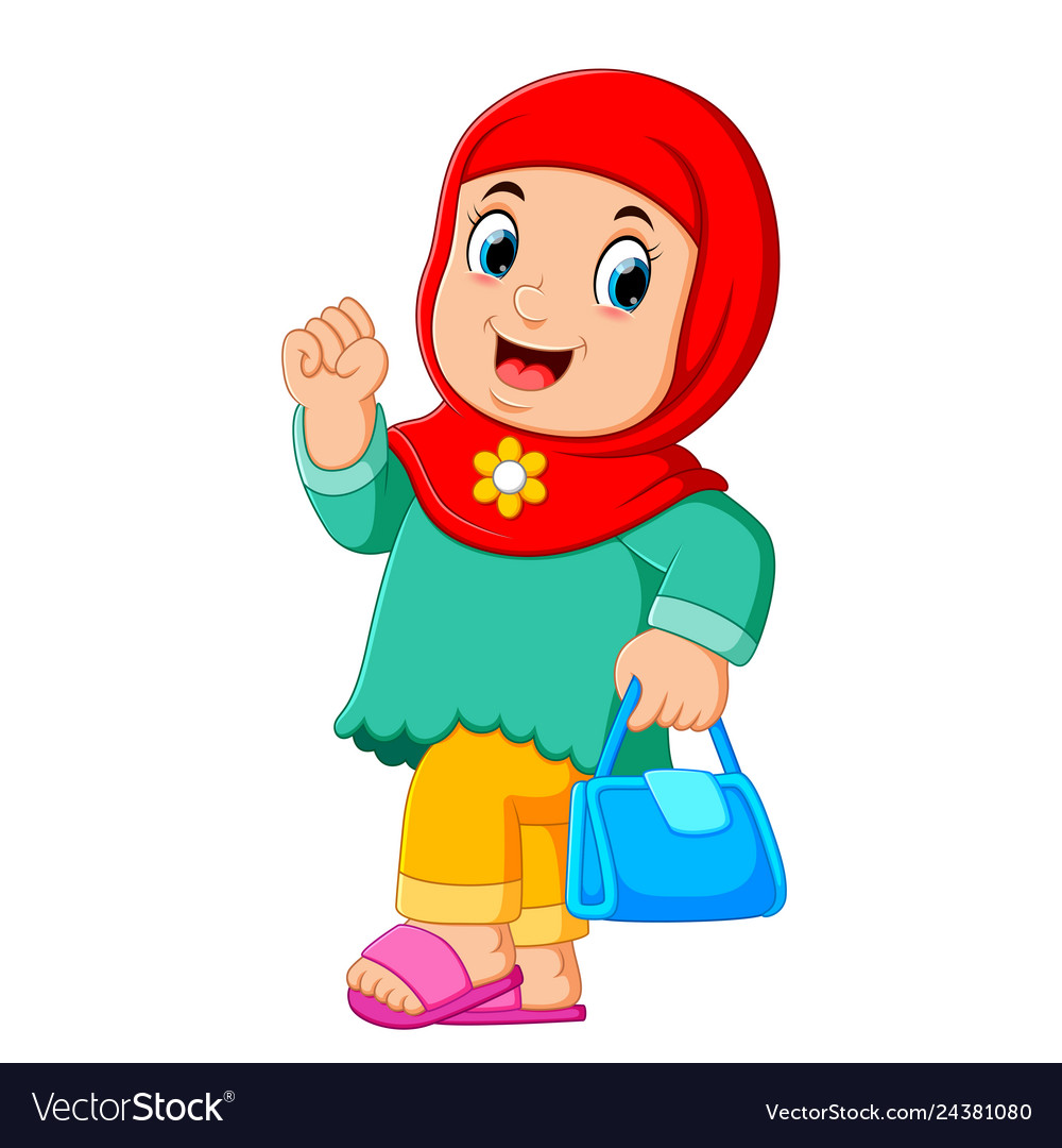 Cartoon Arab Women Character With Hijab Carrying Vector Image