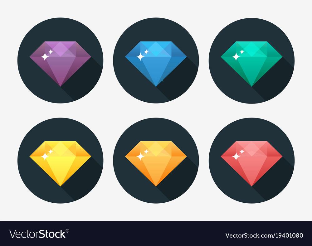 Cartoon gem and diamond icon rainbow color