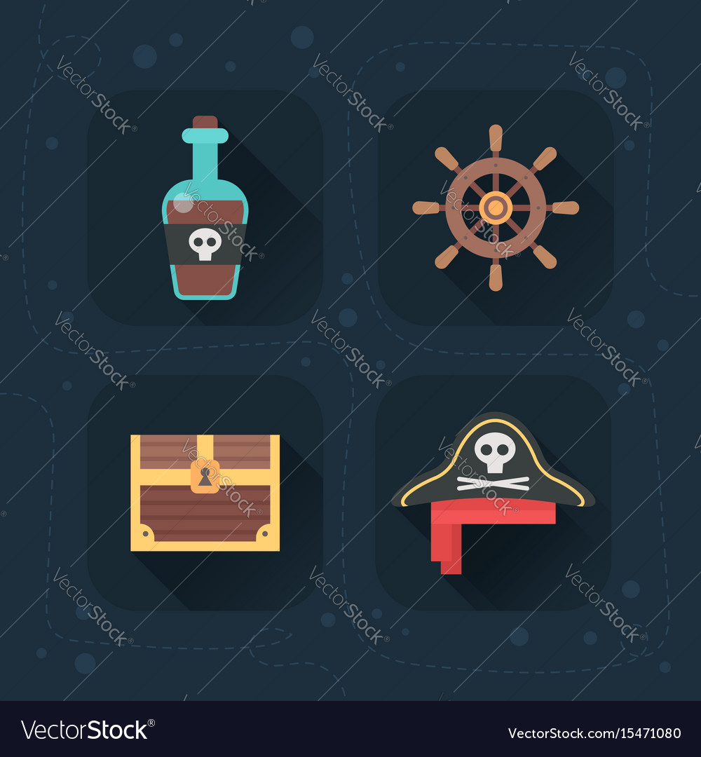 Flat pirate icons