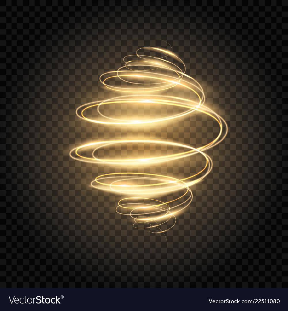 Glowing spiral golden light swirl bright speed