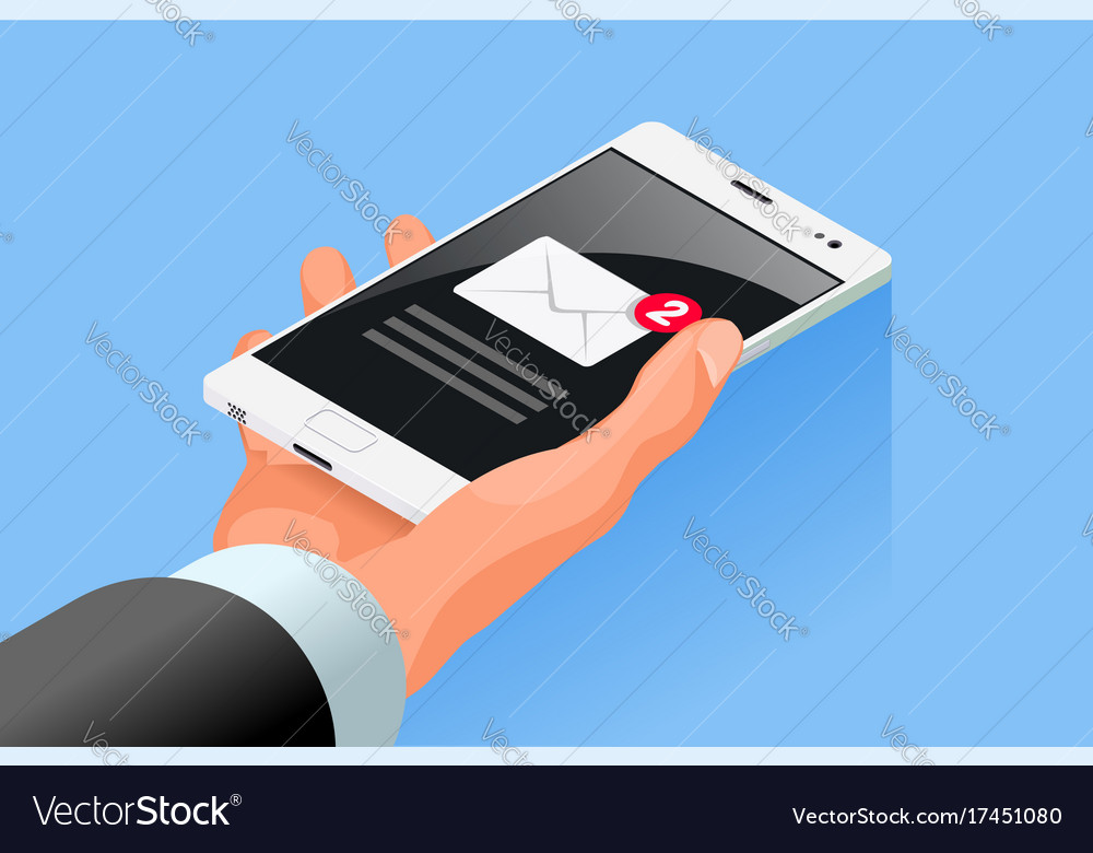 Hand hold mobile cell phone isometric icon