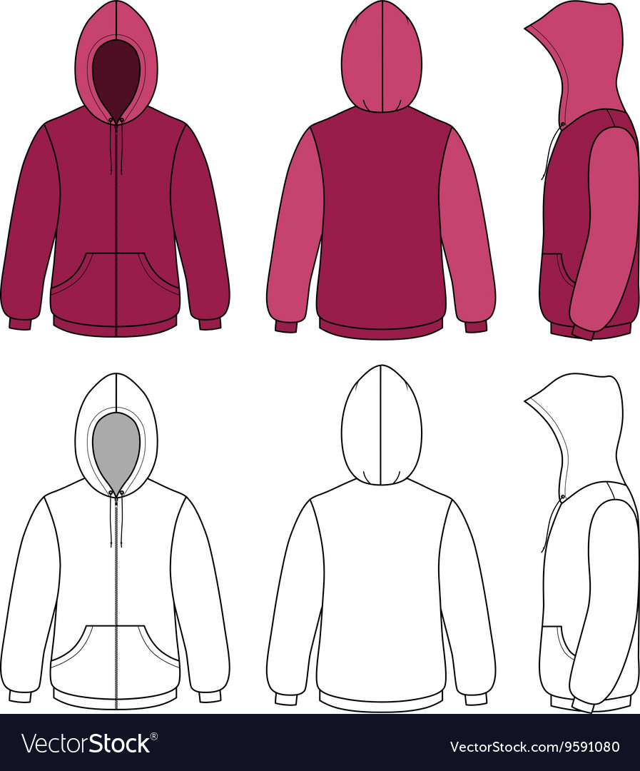Hoodie sweater template Royalty Free Vector Image