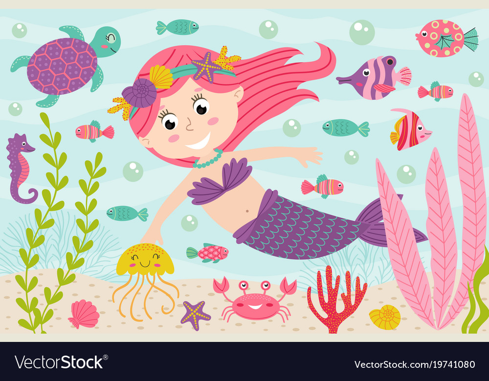 Mermaid underwater with nautical animals