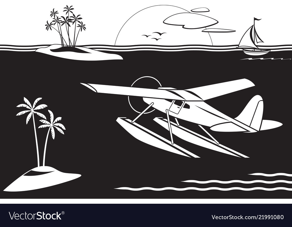 Seaplane flying among islands in the sea