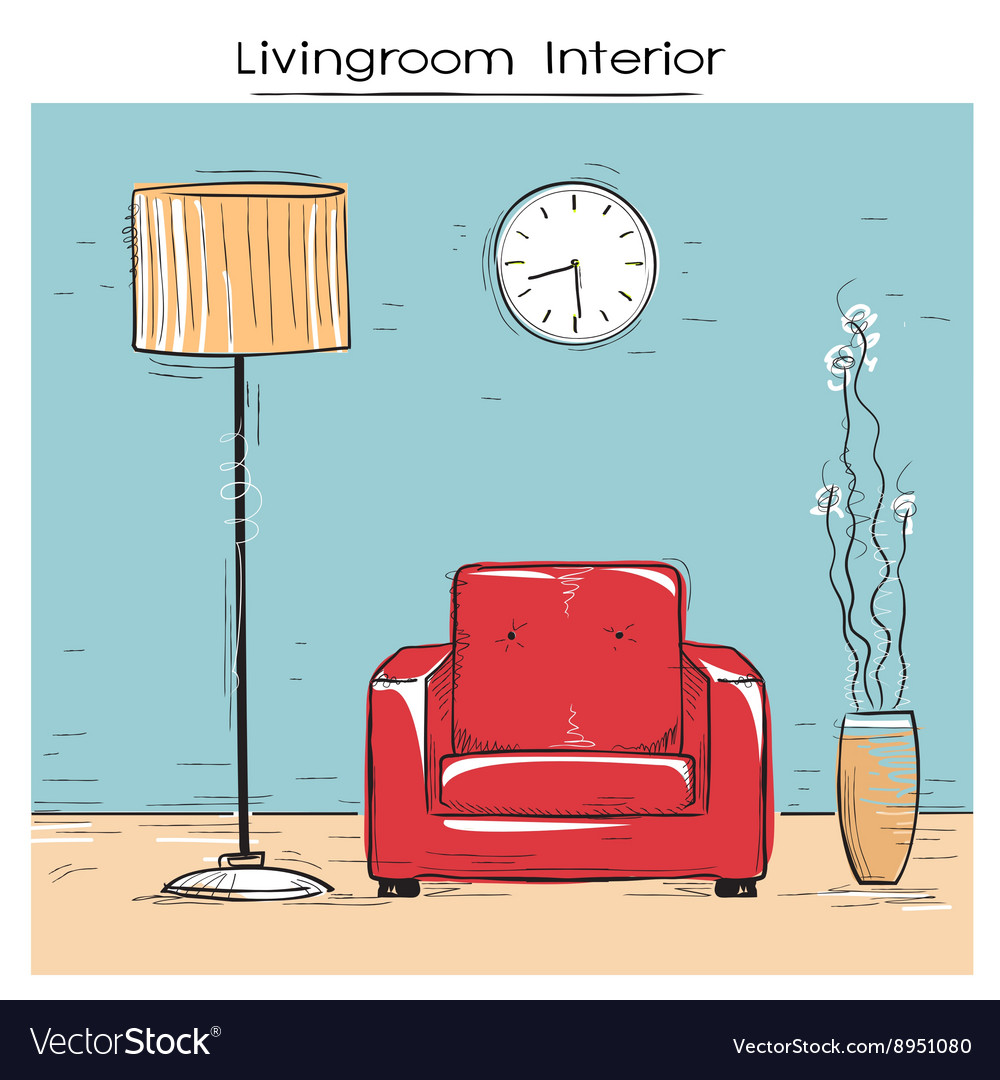 Sketchy of livingroom interior with red chair