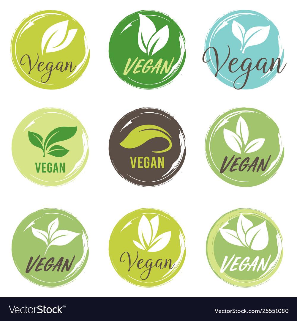 Vegan icon set bio ecology organic logos and