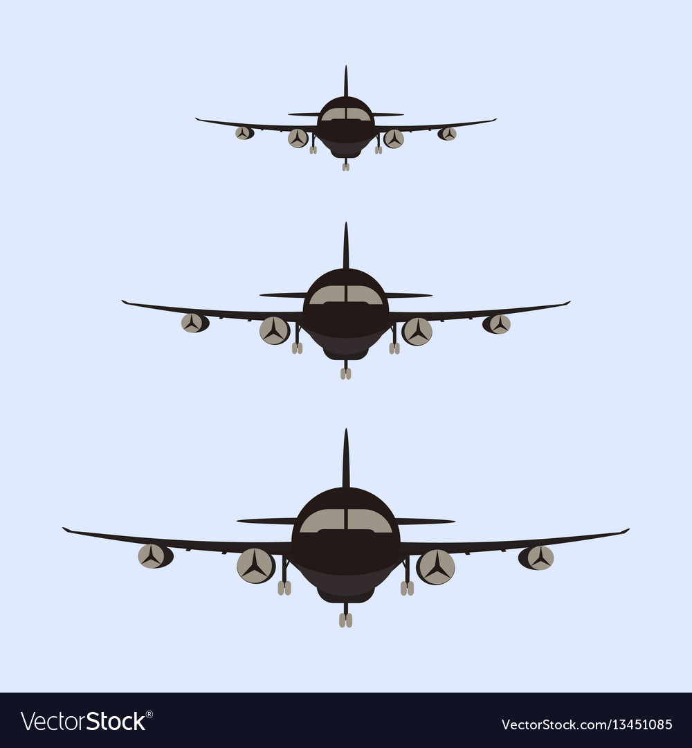 Airplanes silhouette front