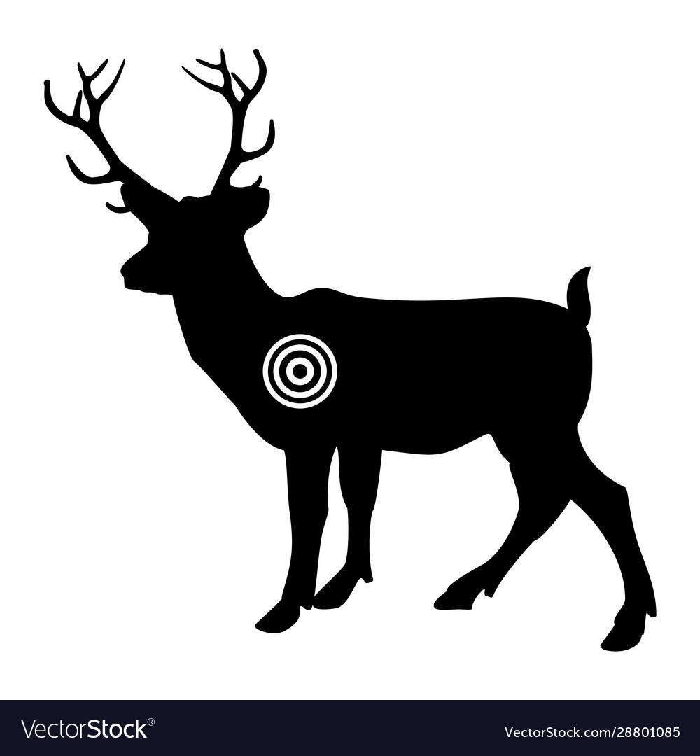Black silhouette deer gun shooting target and