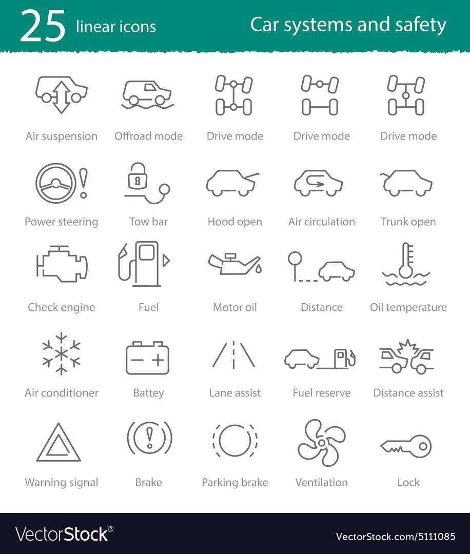 Car Interface Icons Set Royalty Free Vector Image