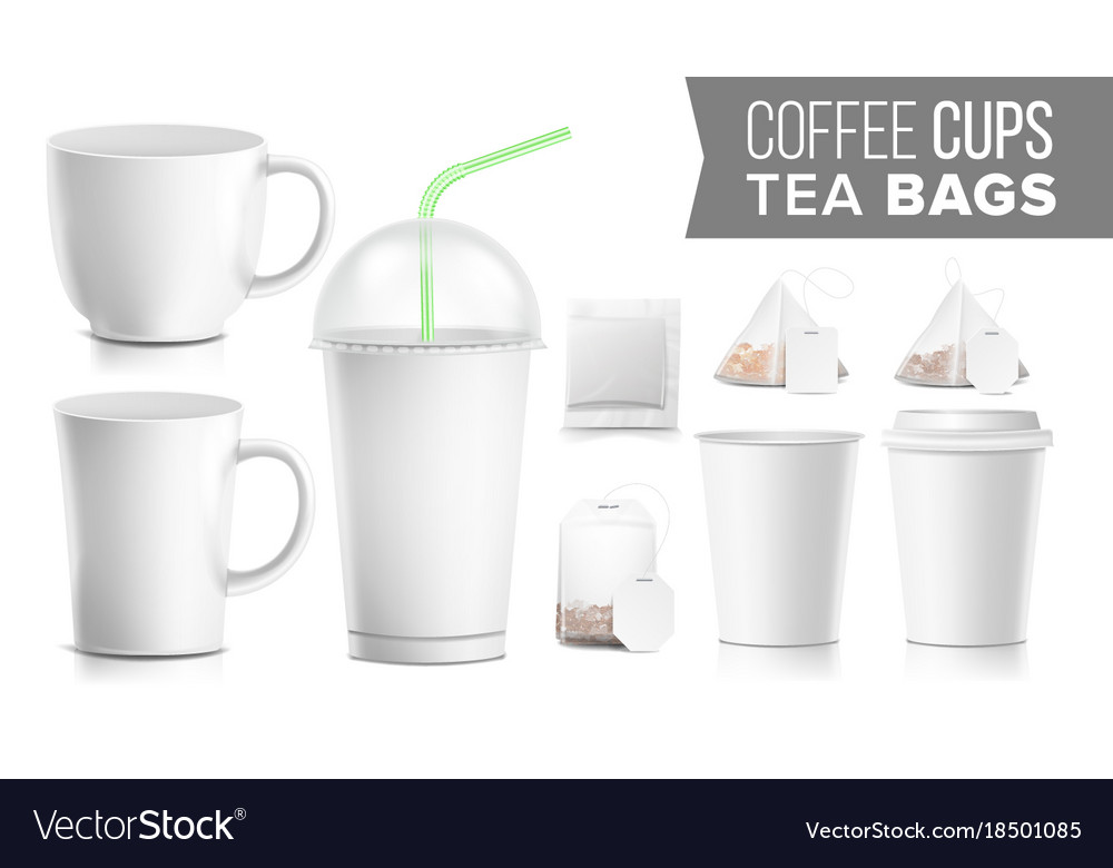Disposable paper cups and tea bags set