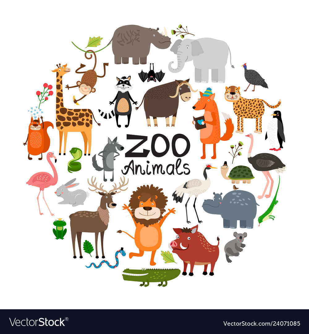 Flat zoo animals round concept